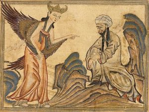 A depiction of Muhammad receiving his first revelation from the angel Gabriel. From the manuscript Jami' al-tawarikh by Rashid-al-Din Hamadani, 1307, Ilkhanate period.